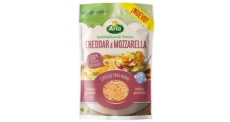 Arla Rallado Cheddar & Mozzarella, queso 100% natural y free from