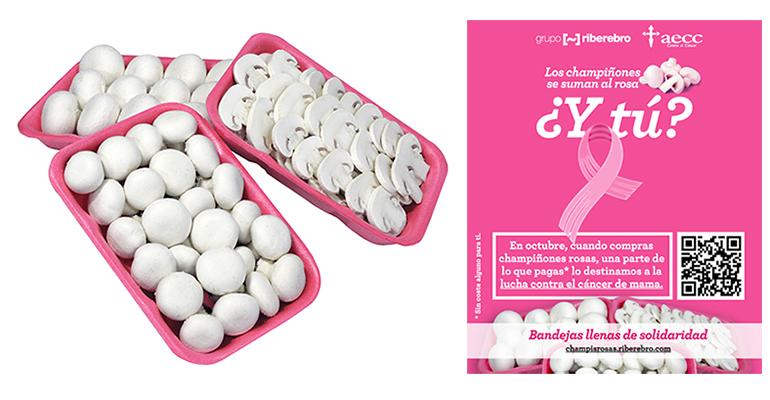 Los champiñones se ´tiñen´ de rosa por la lucha contra el cáncer de mama