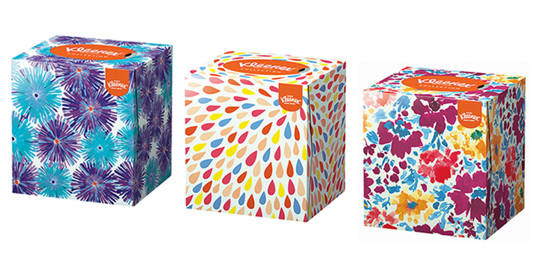Nueva colección de cubos de Kleenex de diseño y a todo color