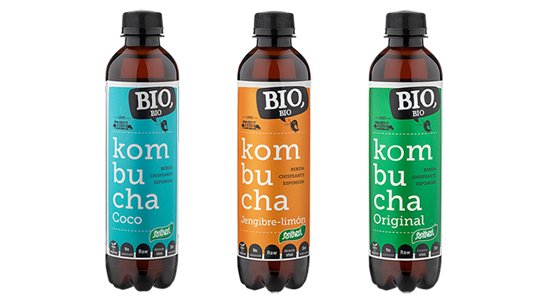 Refrescante kombucha bio con tres sabores a elegir