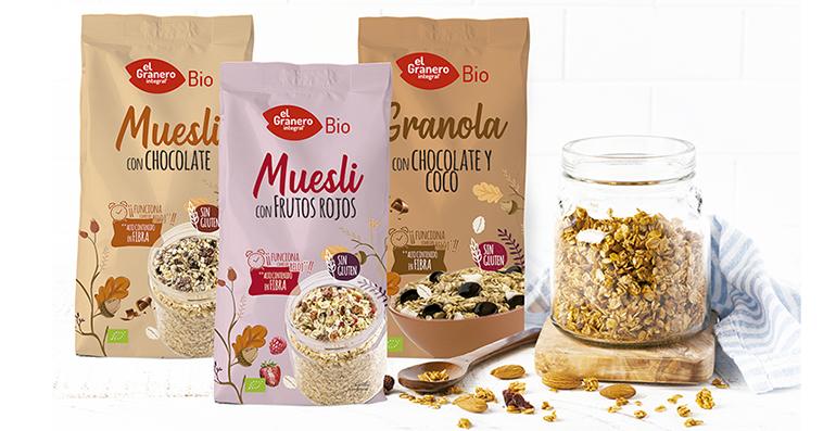 Mueslis, granola sin gluten y los cereales para niños, nuevas propuestas para el desayuno de cultivo ecológico