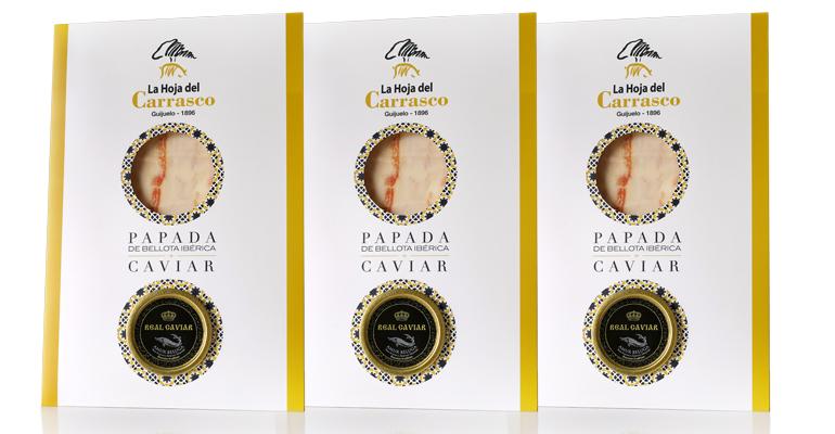 Papada ibérica de bellota adobada y ahumada, maridada con caviar