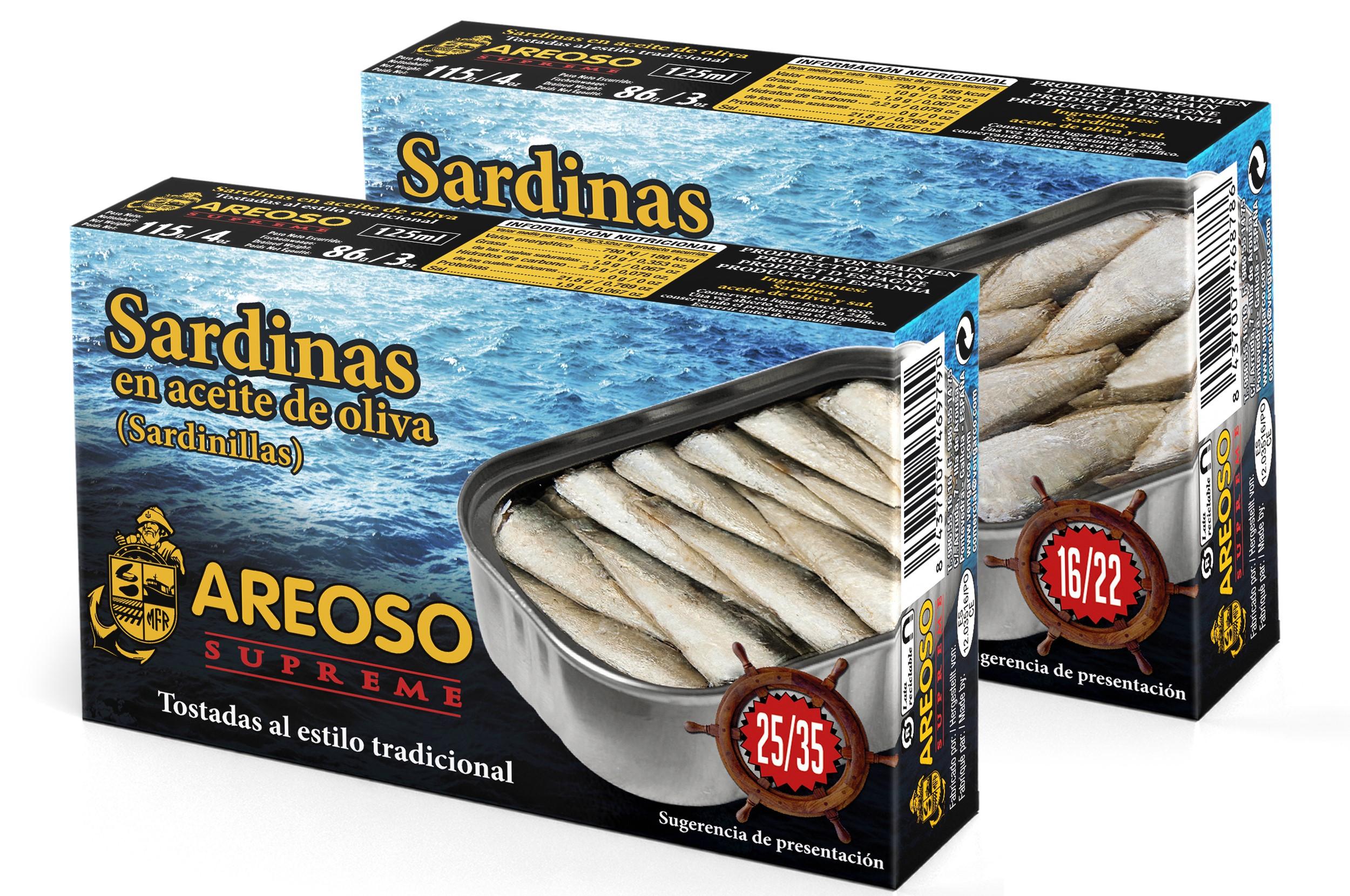 Sardinillas gourmet de pequeño tamaño en aceite de oliva