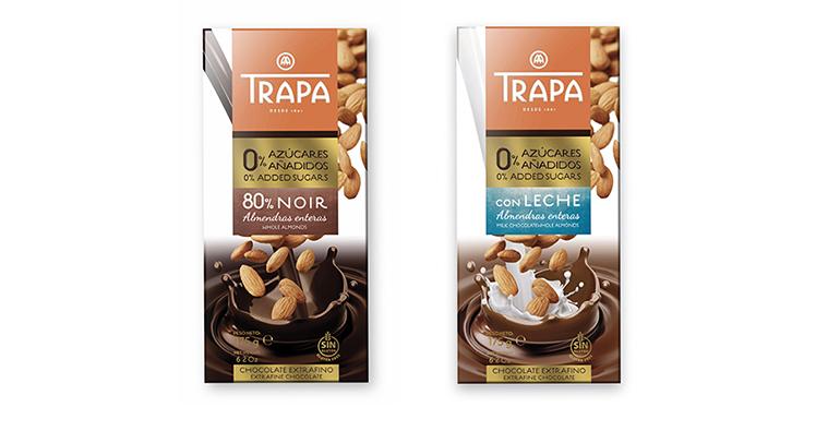 Chocolate con leche y almendras y  Chocolate negro 80% con almendras, sin azúcares añadidos