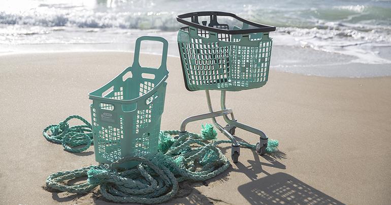 Línea de carros y cestas que recicla el polipropileno de los aparejos de pesca