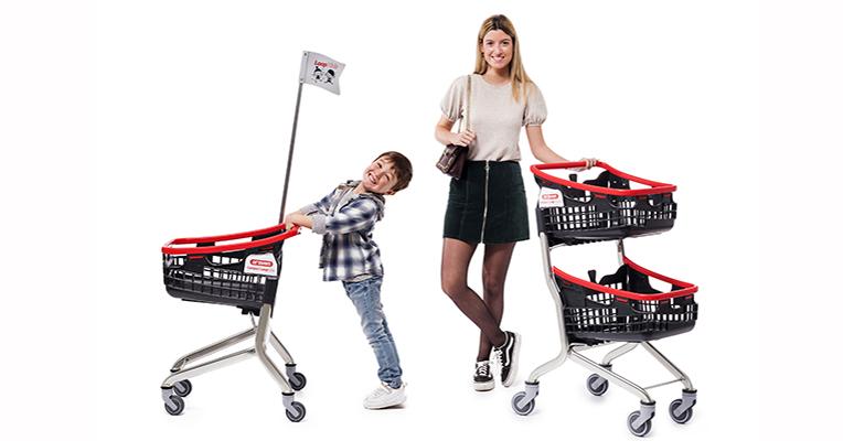 Carros de la compra compactos: uno de doble altura y otro infantil