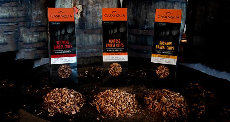 Virutas para ahumar con aromas originales a Oloroso, Tinto y Bourbon de la campiña cordobesa