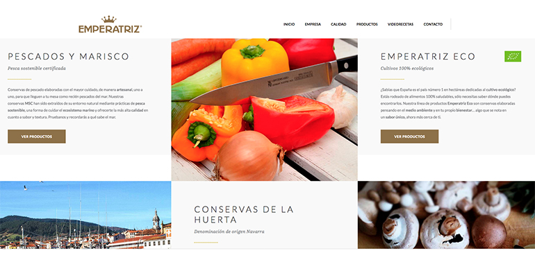 Conservas Emperatriz innova en el diseño de su página web