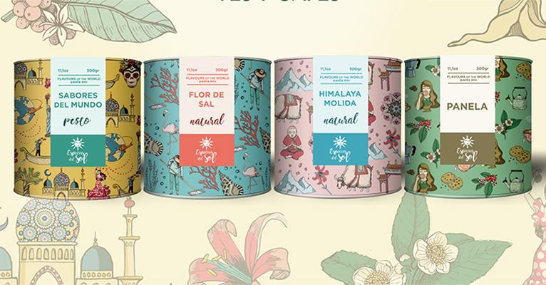 Especias con sabores del mundo y el saludable azúcar Panela en cómodos botes de cartón