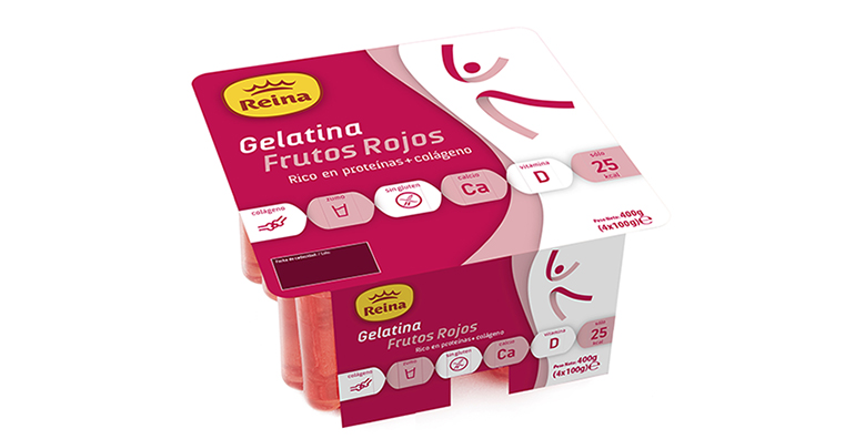 Ligera gelatina con colágeno y proteínas, sabor a frutos rojos