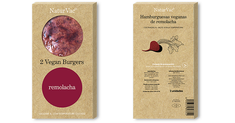 Natur Vac, la hamburguesa vegana con base de soja texturizada y cocida a baja temperatura