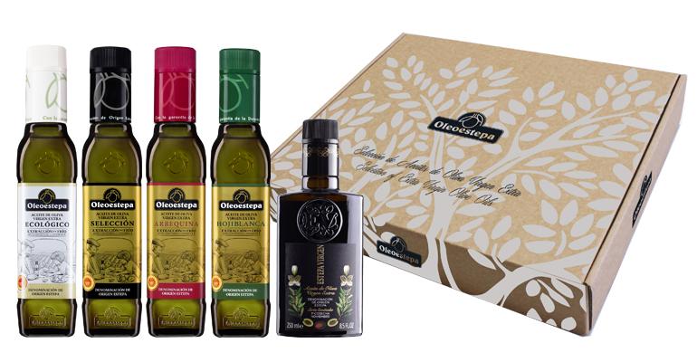 Estuche de Navidad con cinco botellas de AOVE selecto y sostenible de Sevilla
