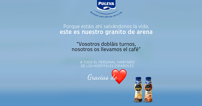 Puleva ofrece gratuitamente café con leche al personal sanitario de los hospitales