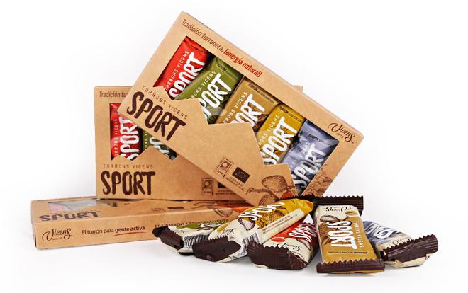 Porciones de turrón ecológico pensados como snacks para deportistas