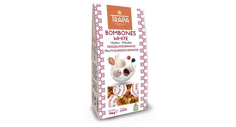 Trapa Bombones White, siete piezas de bombones de chocolate blanco libres de gluten y de aceite de palma