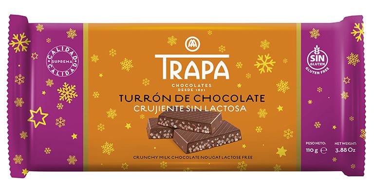 Llega el primer turrón crujiente de chocolate con leche sin lactosa