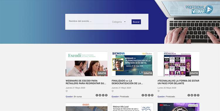 Profesionalwebinar.com es el nuevo portal para informar sobre el calendario de webinars y eventos online del sector